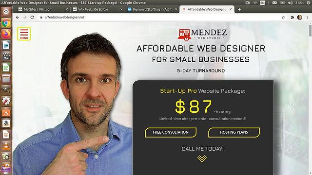 Affordable Web Designer`s website screenshot. The site was built on Wix.