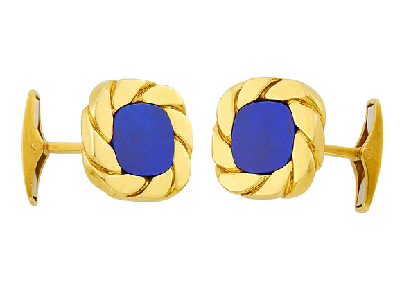 Van Cleef & Arpels Lapis and 18 Karat Gold Cufflinks