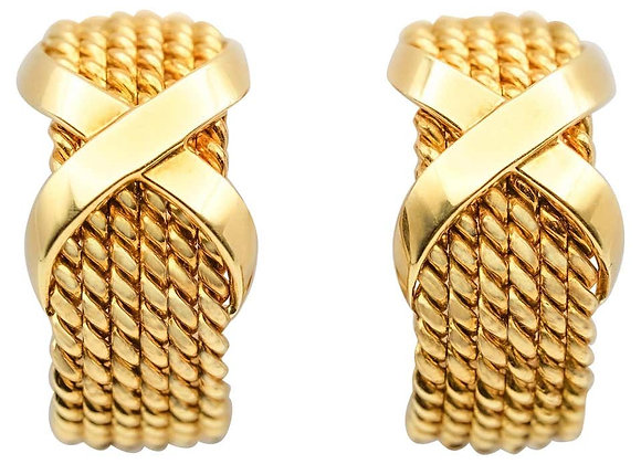 "Tiffany & Co Schlumberger 18 Karat Gold ""X"" Half-Hoop Ear Clips"