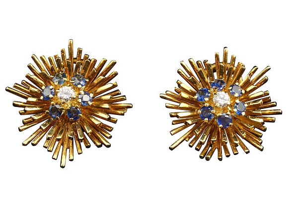 Tiffany & Co. 18 Karat Gold, Sapphire and Diamond Ear Clips, circa 1960s