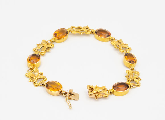 Art Nouveau 14 Karat Gold and Palmeira Citrine Bracelet, circa 1890
