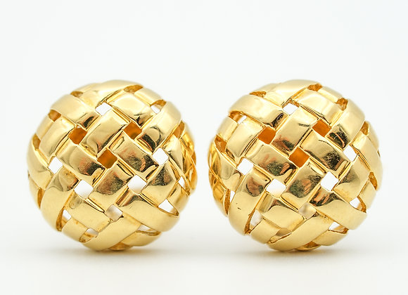 Tiffany & Co. Vannerie Basket Weave Button Ear Clips