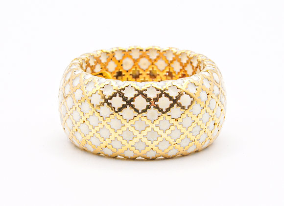 Gucci Diamantissima White Enamel 18 Karat Gold Ring