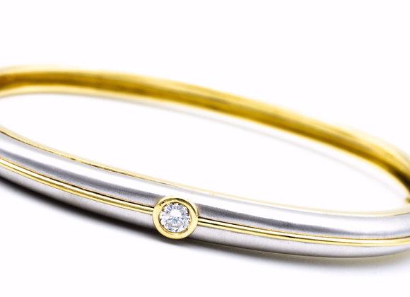 Vintage Single Diamond 18 Karat Two-Tone Bangle Bracelet