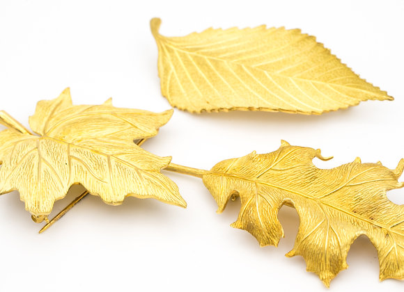 Three vintage 18 K gold leaf brooches by Tiffany & Co.