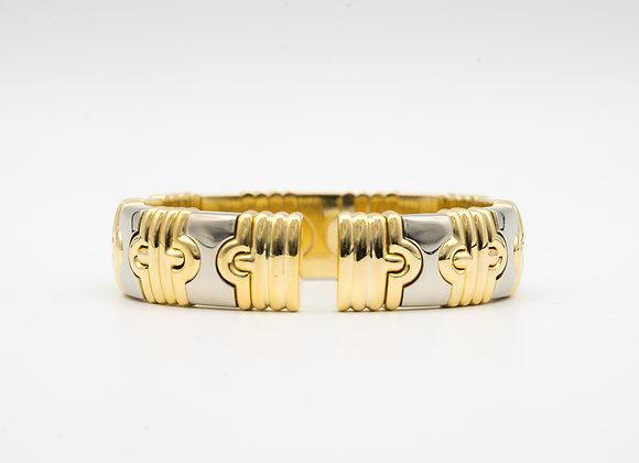 Parentesi Style 18K Gold Two Tone Bangle Bracelet: 14mm, 87 grams