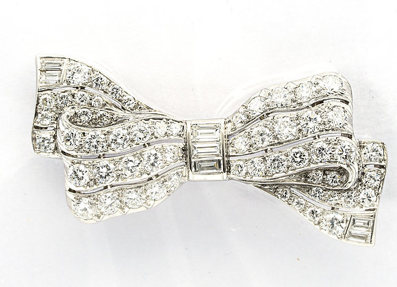 Art Deco Diamond and Platinum Bow Pin, circa 1930s