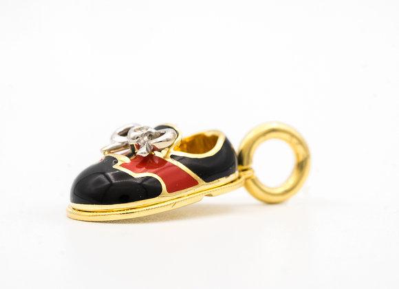 Aaron Basha Red Saddle Baby Shoe with Diamond Bow