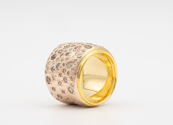 Pomelatto wide band with natural champagne color diamonds 18K Gold