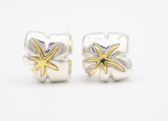 Tiffany & Co. 18 Karat Gold and Silver Leaf Motif Clip Earrings
