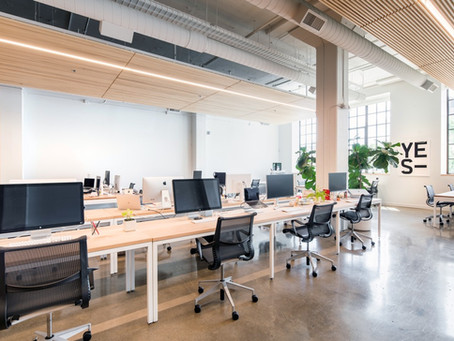 The new workplace includes office hoteling and major redesigns by developers