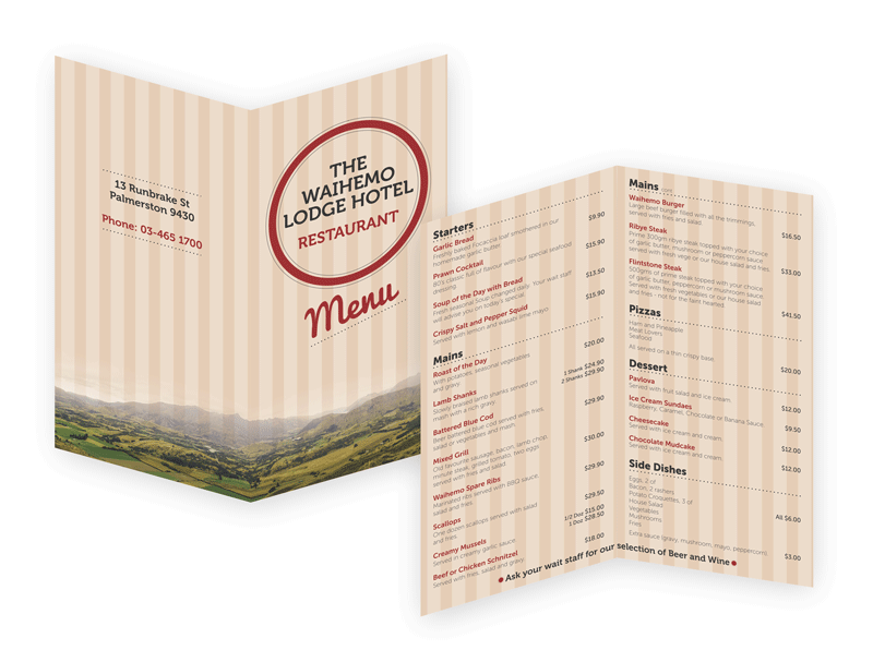 Menu Design & Print - The Waihemo Lodge Hotel Restaurant