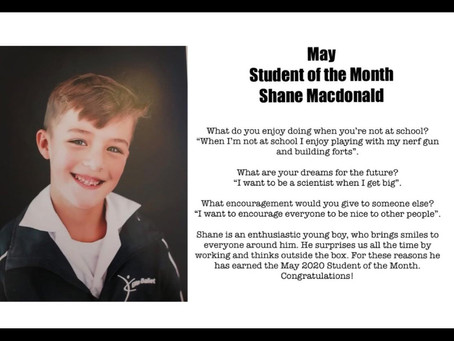 May: Shane Mac Donald Student of the Month