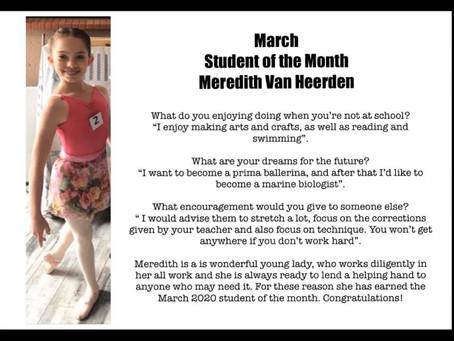 March: Meredith van Heerden Student of the Month