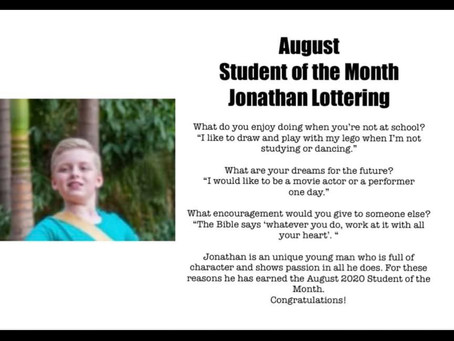 August: Jonathan Lottering Student of the Month