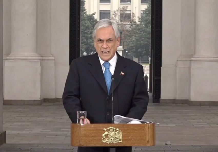 Piñera, anunciando intervención al Congreso. Transmisión de Presidencia.