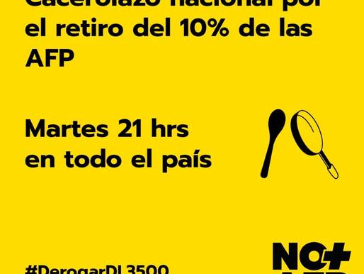 """""""No+AFP"""" anuncia cacerolazo nacional para apoyar el proyecto del retiro del 10% de las pensiones"""