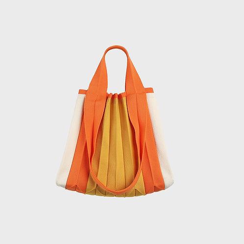Plissierte Shopper-Tasche aus recyceltem Meeresplastik orange