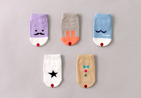 Set of 5 Low Cut Socks - One Busy Day