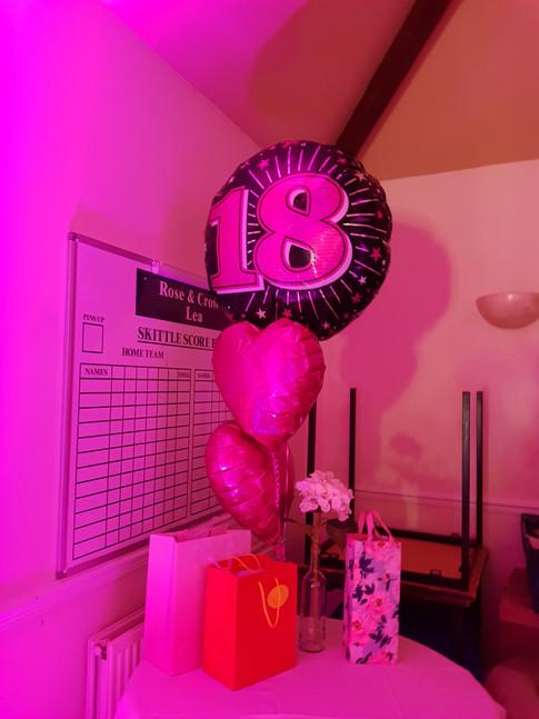 Pink uplit 18th balloon