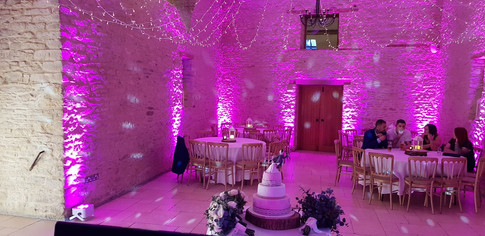 Kingscot Barn with Pink Uplights (Mood Lights)