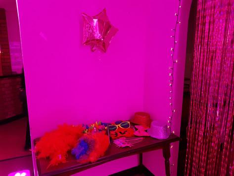 Pink uplit fancy dress table