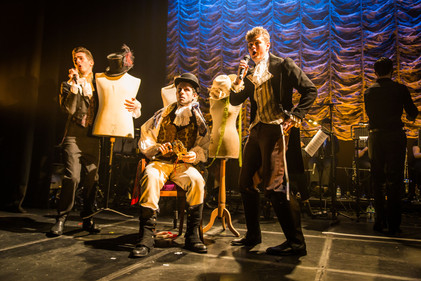 Matthew Healy (as Folletto), Will de Renzy-Martin (as Luca) and Joe Partridge (as Corto), Mascherato Workshop 2017