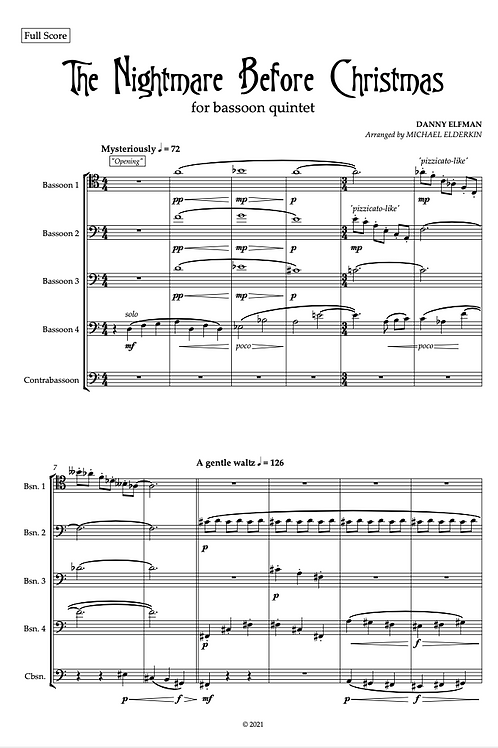 The Nightmare Before Christmas (Bassoon Quintet)