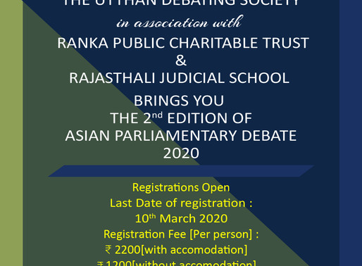 2nd Asian Parliamentary Debate by Utthan Debating Society [April 3-4, Jaipur]: Registrations Open