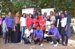 Group photo of Team SSSCF, Firmcare Diagnostics & Sanitary Bank Initiative after a successful Community project, commemmorating Sickle Cell Awareness Month - September, 2018.
