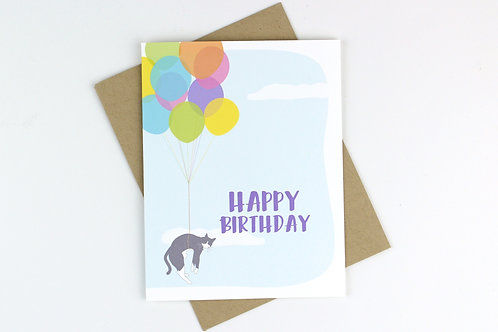 BIRTHDAY BALLOONS CAT | CARD