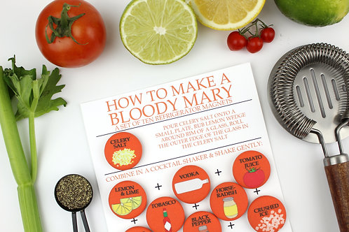 HOW TO MAKE A BLOODY MARY | SET OF 10 MAGNETS