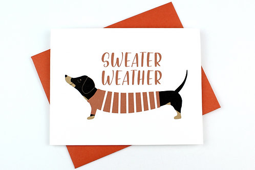 SWEATER WEATHER DACHSHUND | CARD