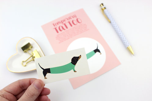 DACHSHUND IN A GREEN SWEATER | TEMPORARY TATTOO | WHOLESALE