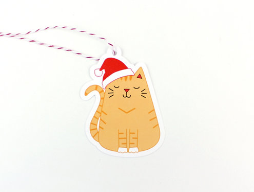 SANTA CAT | SET OF 10 GIFT TAGS