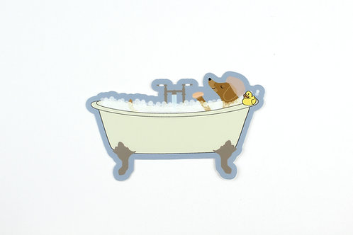 DACHSHUND TAKING A BATH | STICKER