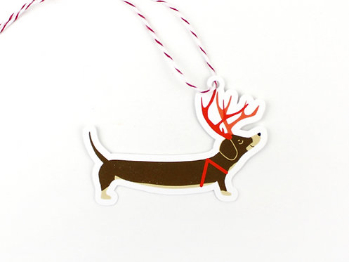 REINDEER DACHSHUND | SET OF 10 GIFT TAGS