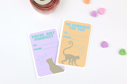 ANIMAL PUNS LOVE | SET OF 8 LUNCH BOX NOTES / CLASSROOM VALENTINES