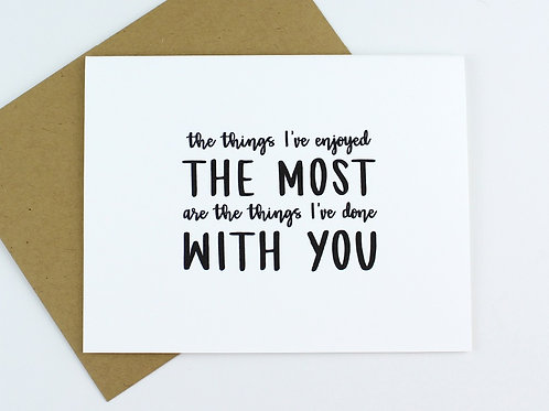 THE THINGS I'VE ENJOYED THE MOST | CARD | WHOLESALE