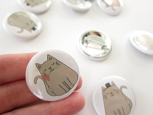 MR. AND MRS. CAT | SET OF 10 BUTTONS | WHOLESALE