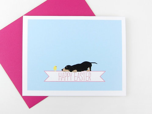 DACHSHUND WITH A CHICK | CARD
