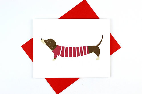 DACHSHUND IN A CHRISTMAS SWEATER | CARD