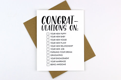 CONGRATULATIONS CHECKLIST | CARD