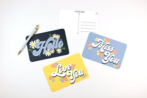 HELLO / MISS YOU / LOVE YOU | SET OF 3 OR MORE POSTCARDS