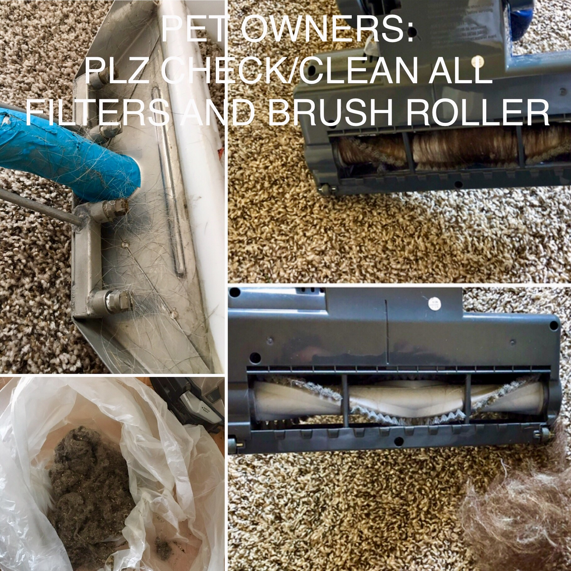 Clogged vacuum filter and roller