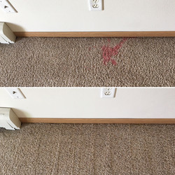 Red stain in carpet removal