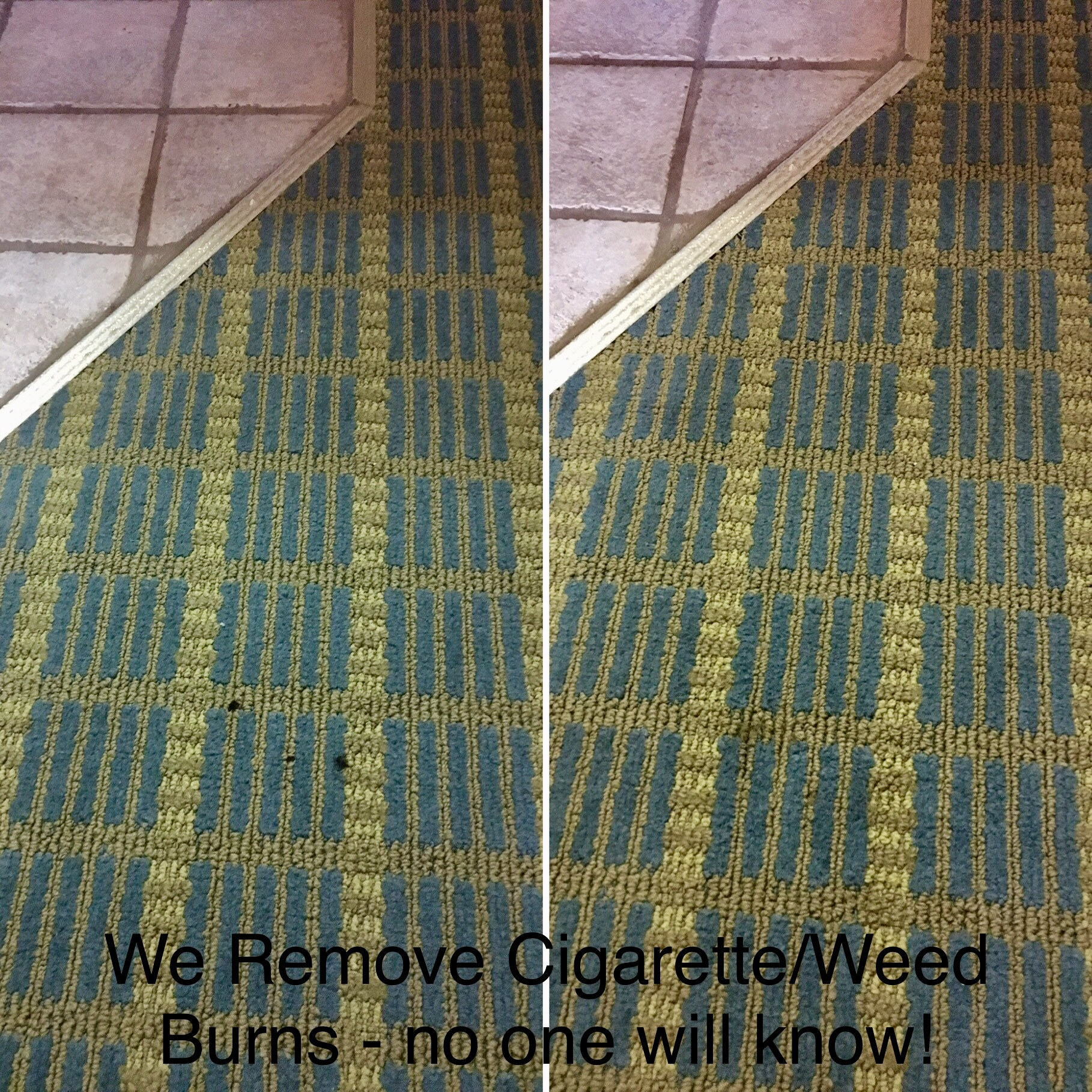 Cigarette burns in carpet