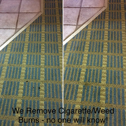 Cigarette burns in carpet
