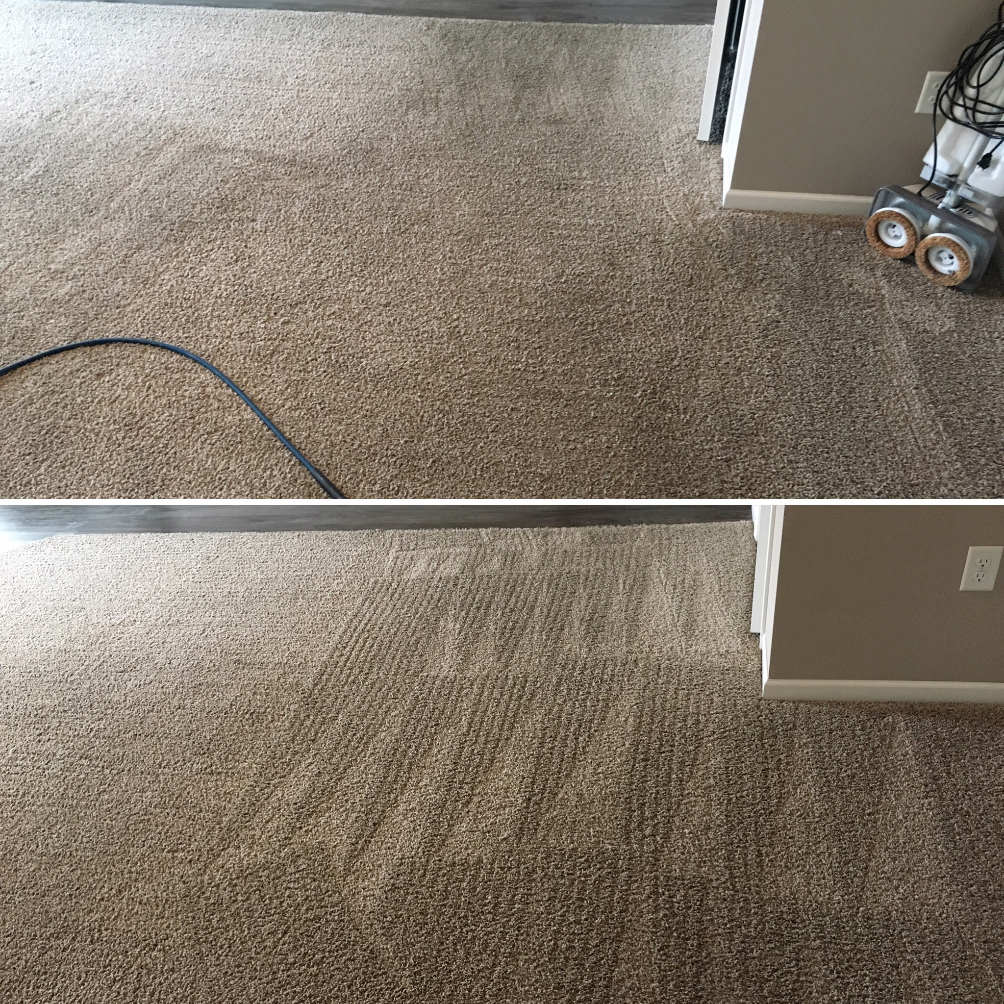 Before after picture dirty carpet