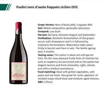 Paolini nero d'avola frappato sicilien DOC